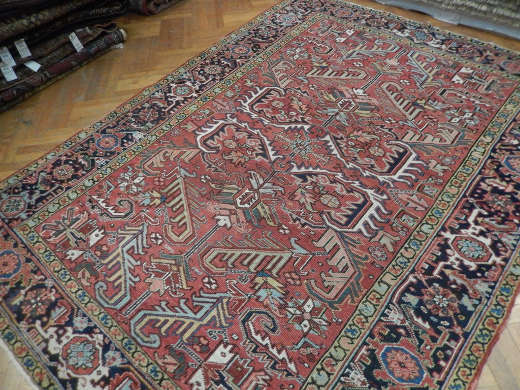 7x9 Antique Persian Heriz Rug Rustic Coral All Over Exotic Iran Ethnic  Pattern