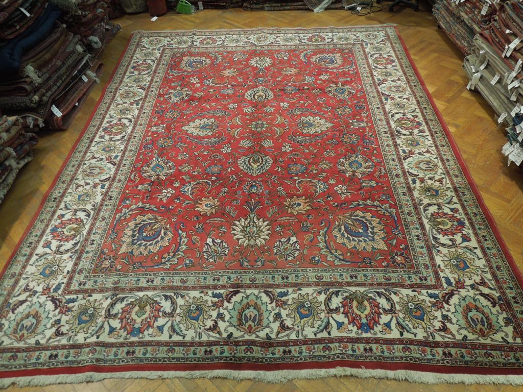 Red Hand Woven Ornamental Patterns Persian 11x14 Semi-Antique Rug Tabriz-Iran : eBay
