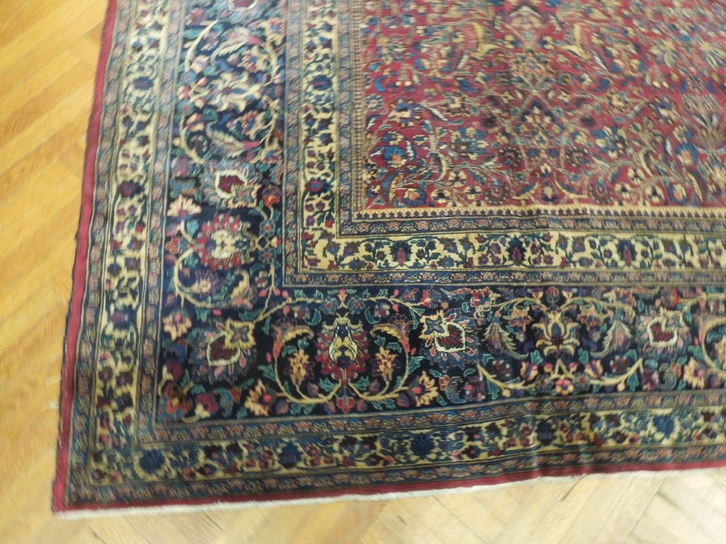 12 39 x 14 39 antique persian fine hand knotted wool burgundy blue area rug ebay. Black Bedroom Furniture Sets. Home Design Ideas
