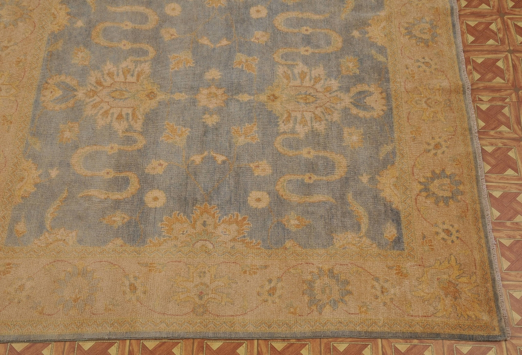 Pastel Blue Pale Gold 8x8 Fine Square Rug Hand Knotted