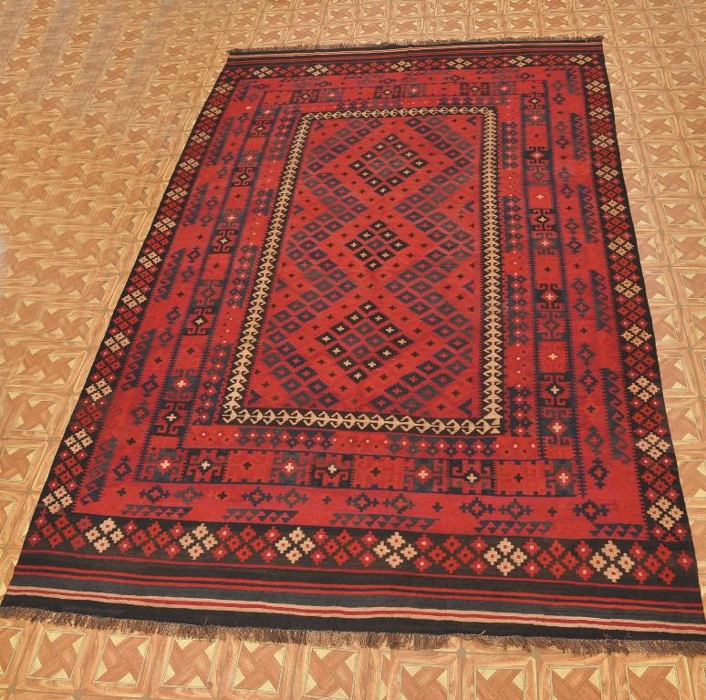Afghan Traditional 8' X 13' Flat Weave Tribal Kilim Area
