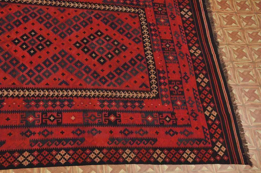 Afghan Traditional 8 X 13 Flat Weave Tribal Kilim Area