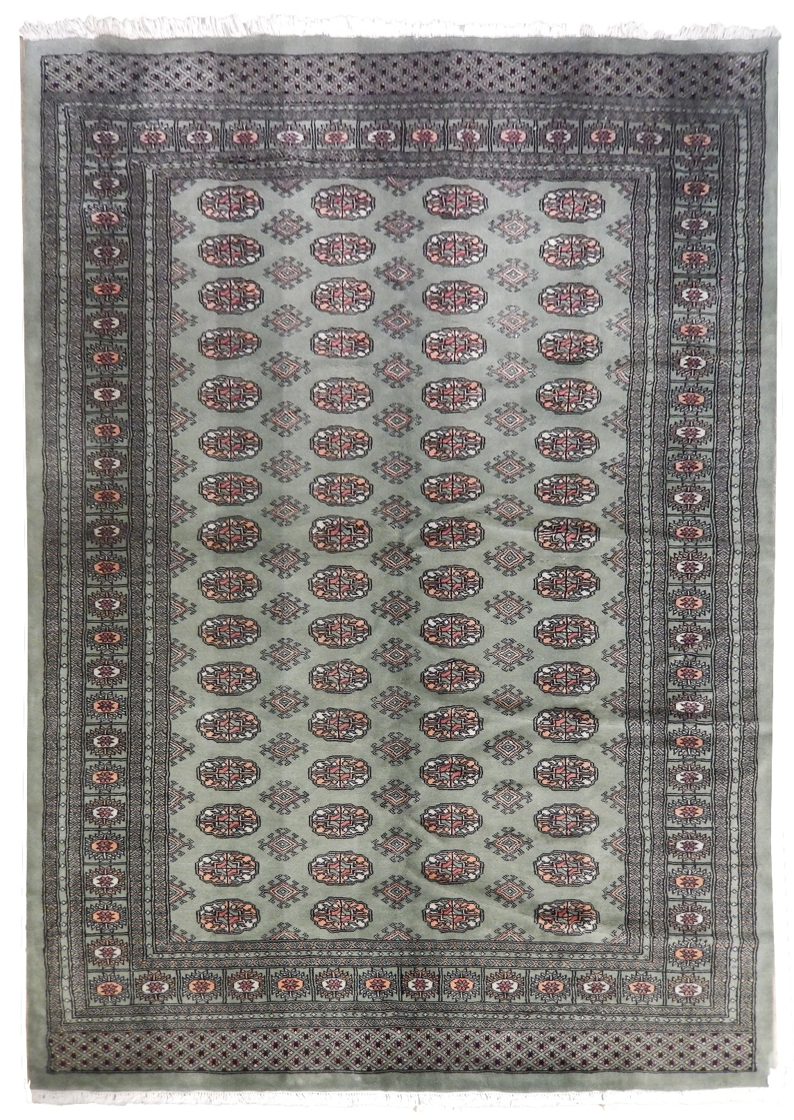 Green Authentic Hand-knotted 6 x 9 Bokhara New Wool Rug