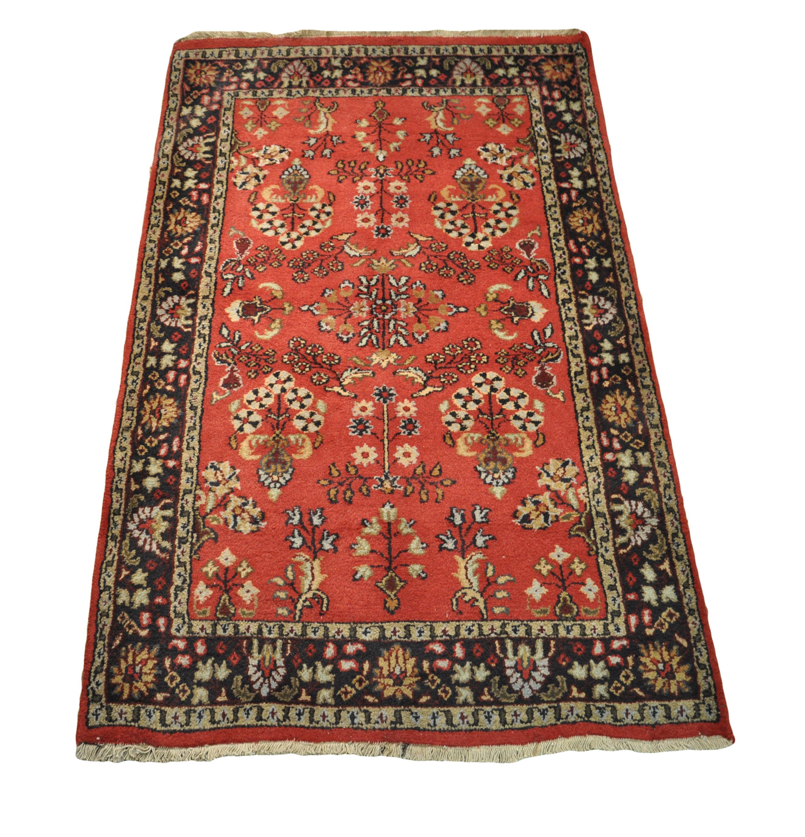Hand-knotted Rug 3' x 5' Sarouk Red Traditional