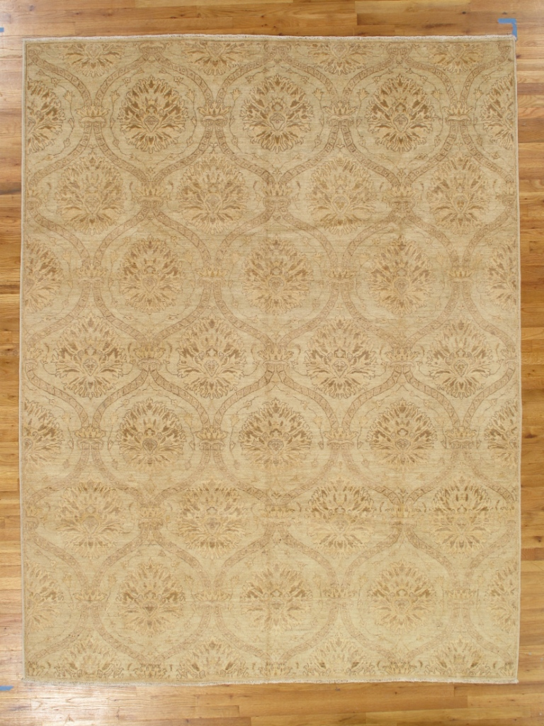 Oushak Beige Wool Handmade Rug 8 X 10 All Over New Chobi Peshawar Lotus Rug Ebay