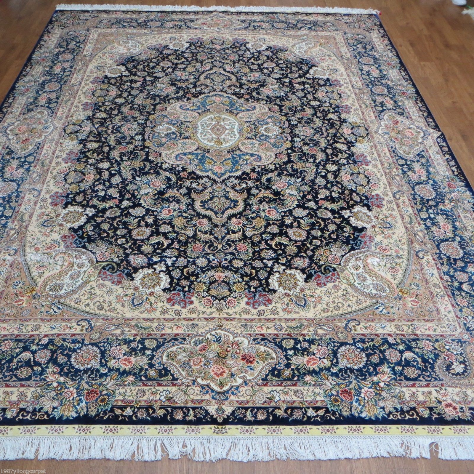 elegant royal blue handmade rug 9 x 12 silk majestic carpet old persian series ebay. Black Bedroom Furniture Sets. Home Design Ideas