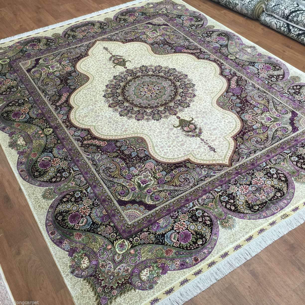 Purple accent rare handmade rug 8x10 silk artistic for Rugs with purple accents