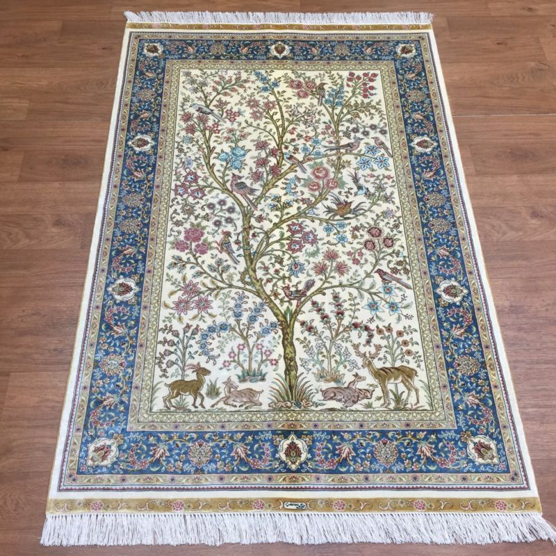 IVORY Tree Of Life Persian SILK Rug Turkish Handmade