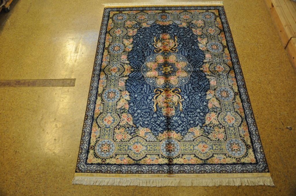 Rugs Warehouse Navy Blue Hand Knotted 6 X 8 Silk Aubusson