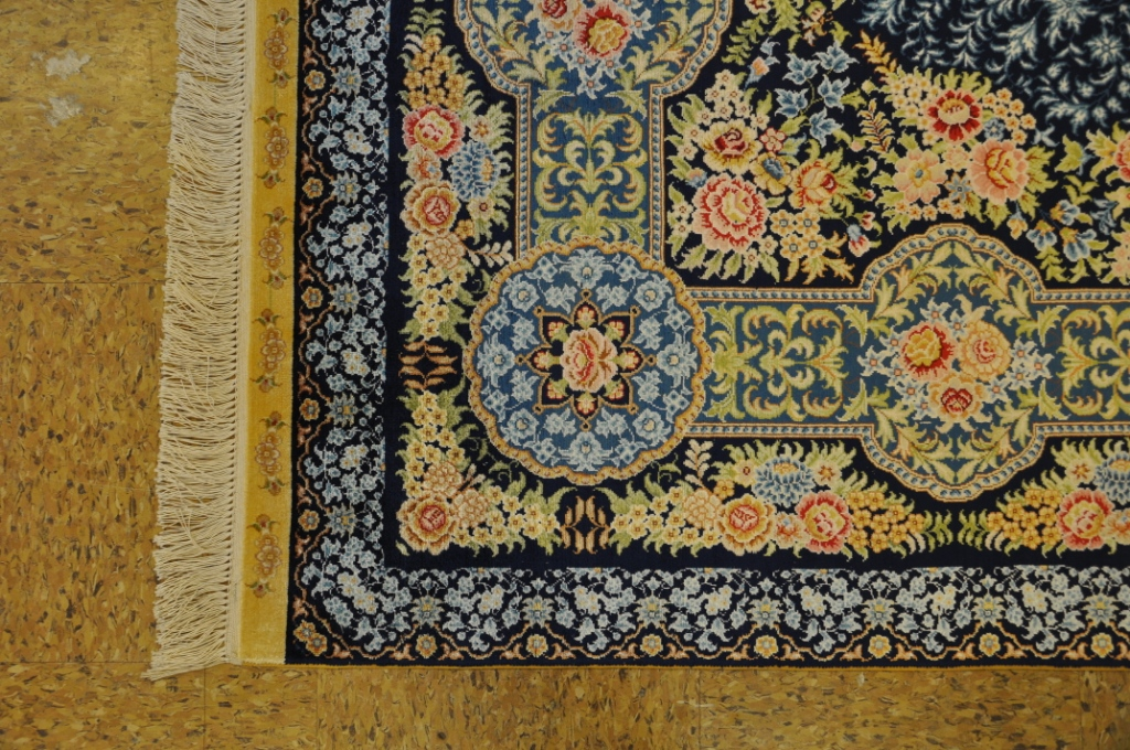 Rugs Warehouse Navy Blue Hand Knotted 6 X 8 Silk