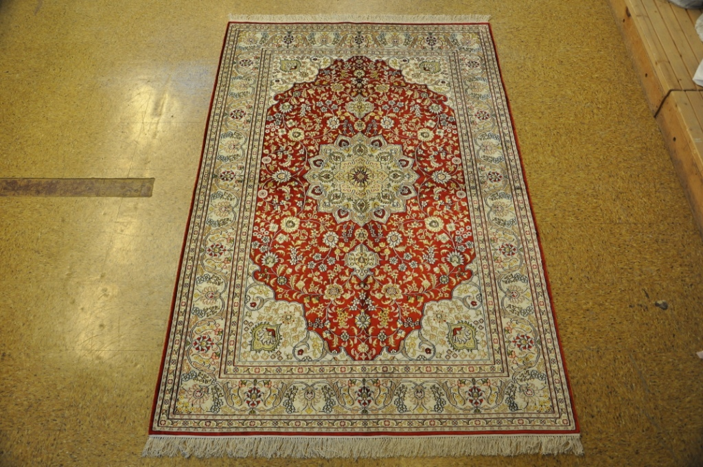 Image Is Loading 5x8 Silk Tabriz Handmade Rugs Deals Online Tomato