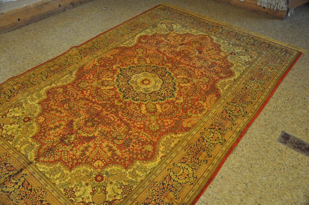 decor rugs silk sarouk red navy blue new hand knotted area rug 5x8 ebay. Black Bedroom Furniture Sets. Home Design Ideas