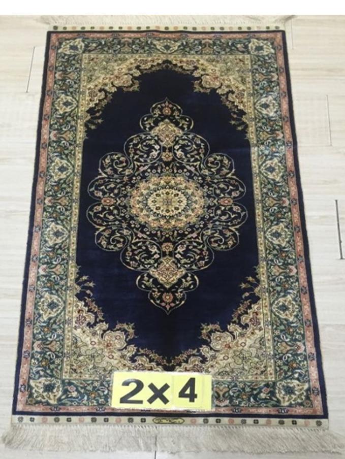 Rug Elegant Carpet 2 X 4 Silk Navy Blue Traditional