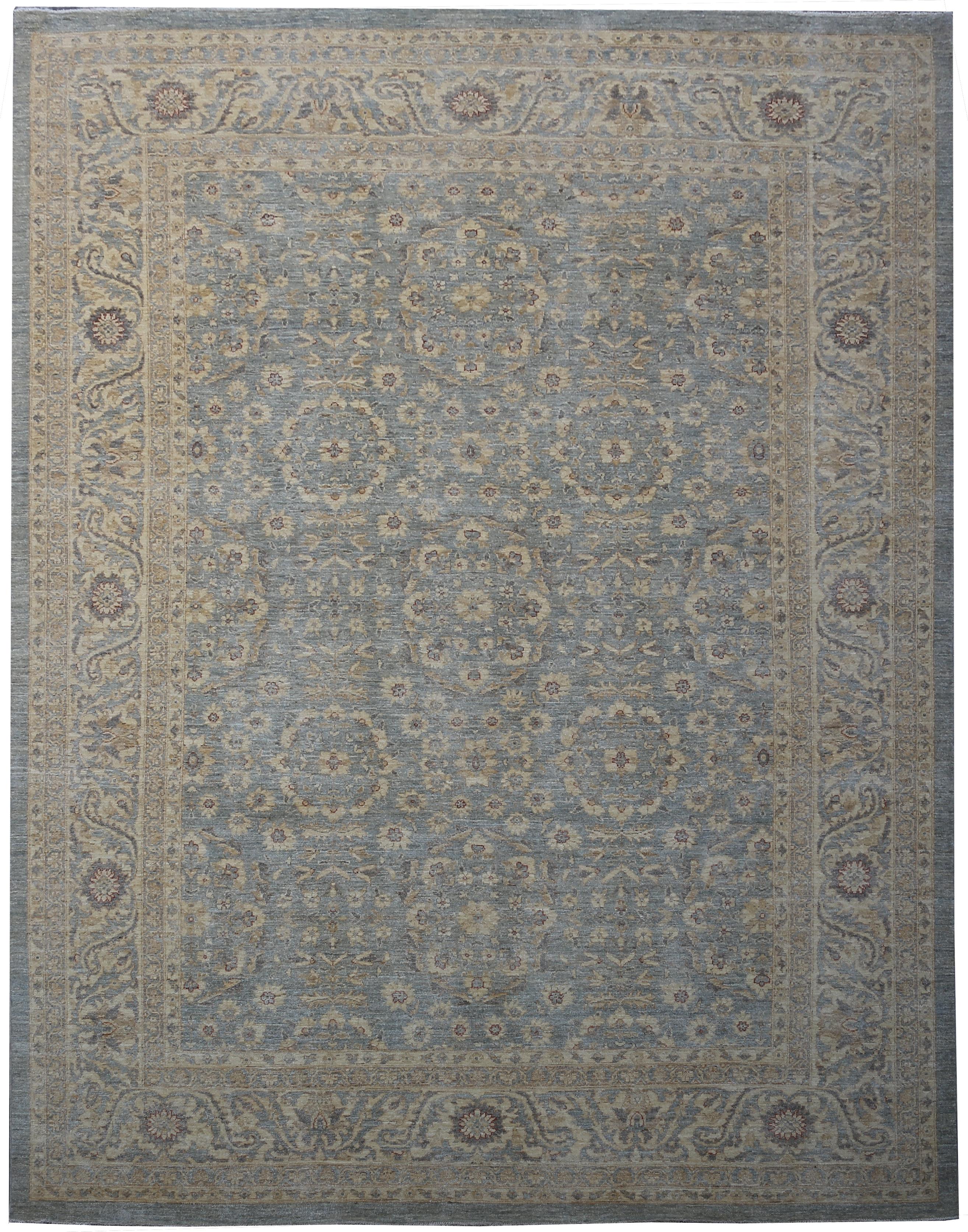Handmade Antique Textured Oushak Ziglar Carpet 9x12 Chobi