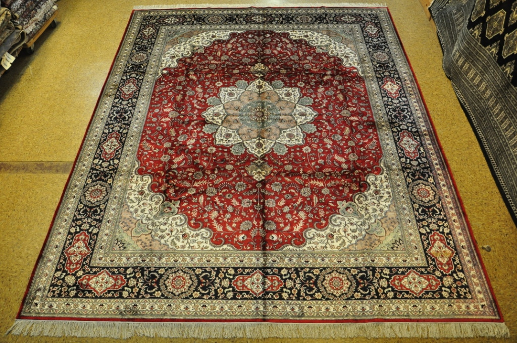 Image Is Loading Lowest Price Area Rugs Silk Tabriz Red Navy
