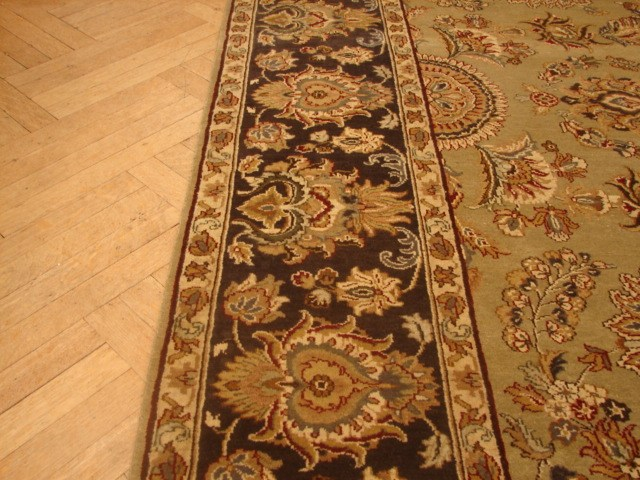 Brown Outdoor Rug 8 10: 8x10 QUALITY HANDMADE JAIPOUR RUG GREEN BROWN