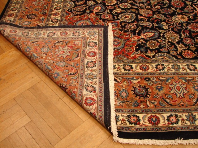 Navy Blue Hand Knotted Isfahan New Persian 13x16 Carpet