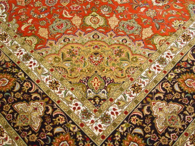 Red Black 11x16 Isfahan Persian Handmade Carpet Elegance