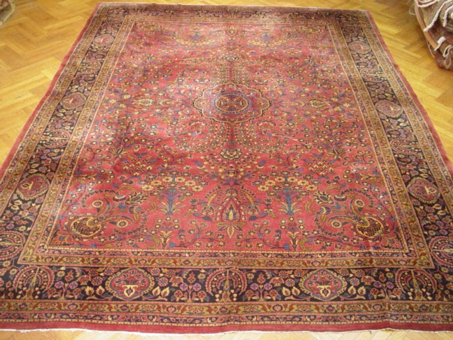 vivid red 11x14 fine quality weave persian sarouk rug | ebay