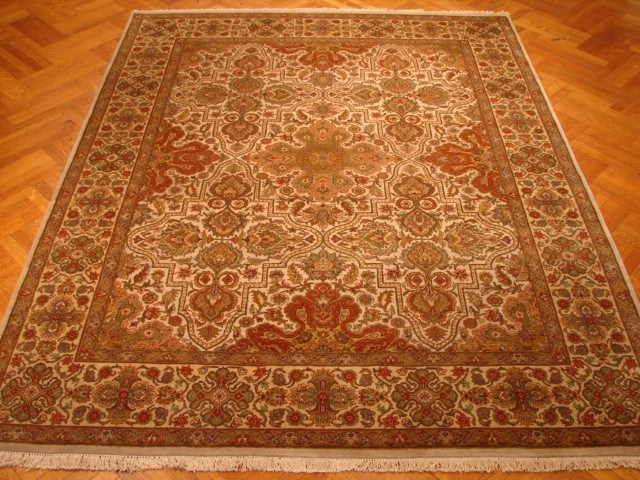 Ivory Gold Brown Green Thick Soft Wool Quality A Rug Ebay