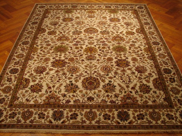 8x10 New Ivory Hand Knotted Rug Soft Dense Wool Pile Ebay