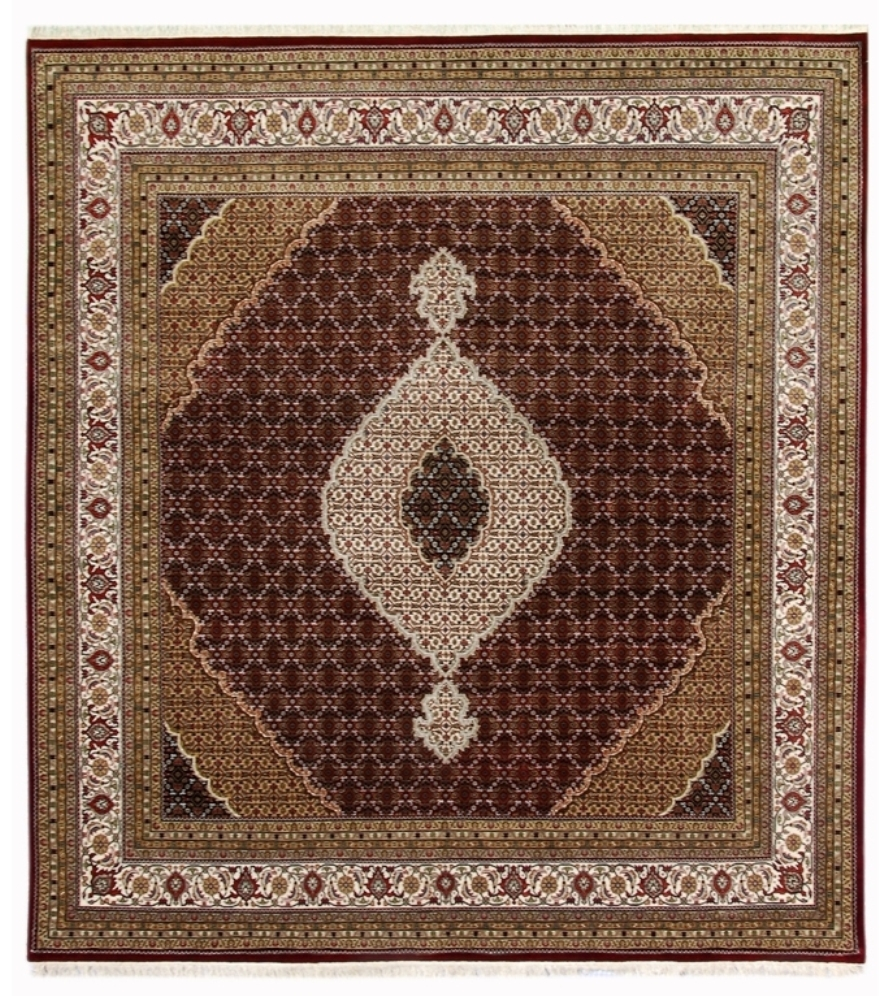 10 By 10 Area Rugs: Square 10' X 10' Black-Ivory Decorative Wool & Silk Tabriz