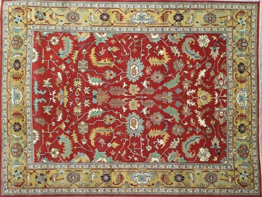 Sale 12x16 Vivid Red Gold Area Rug Oriental Serapi Carpet