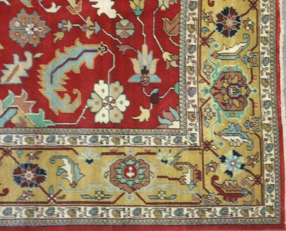 Sale 12x16 Vivid Red Gold Area Rug Oriental Serapi Carpet