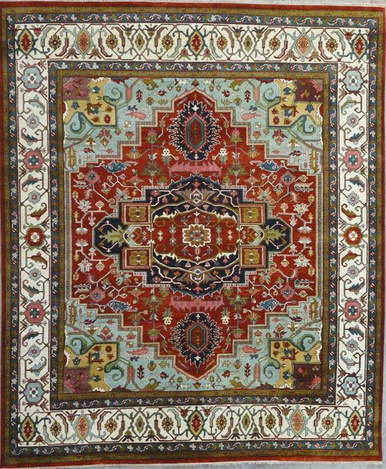 New Brand Devlin Persian Rug Handmade 100 Wool Area Rugs: Vivid Red 12x15 Wool Pile Serapi Rug Exclusive 12' X 15