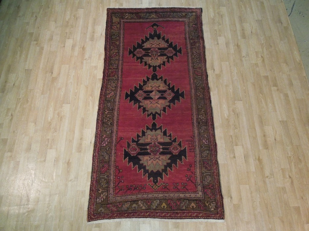 Raspberry Red Hand Woven Kazak Dated 4x8 Traditional Rug