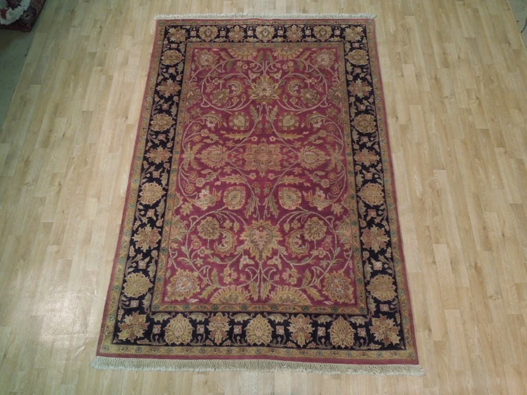 Burgundy black fine traditional hand knotted 6x8 area rug for Area rugs new york