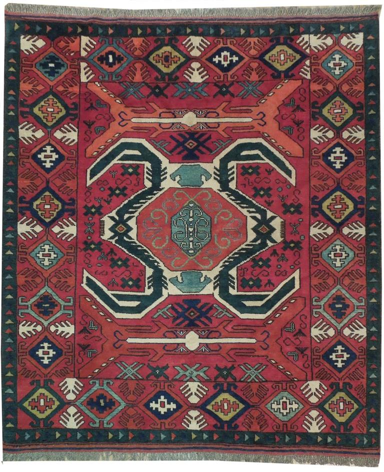 Pak Kazak Geometric Hand Woven Squarish 6x6 Fine Wool Rug