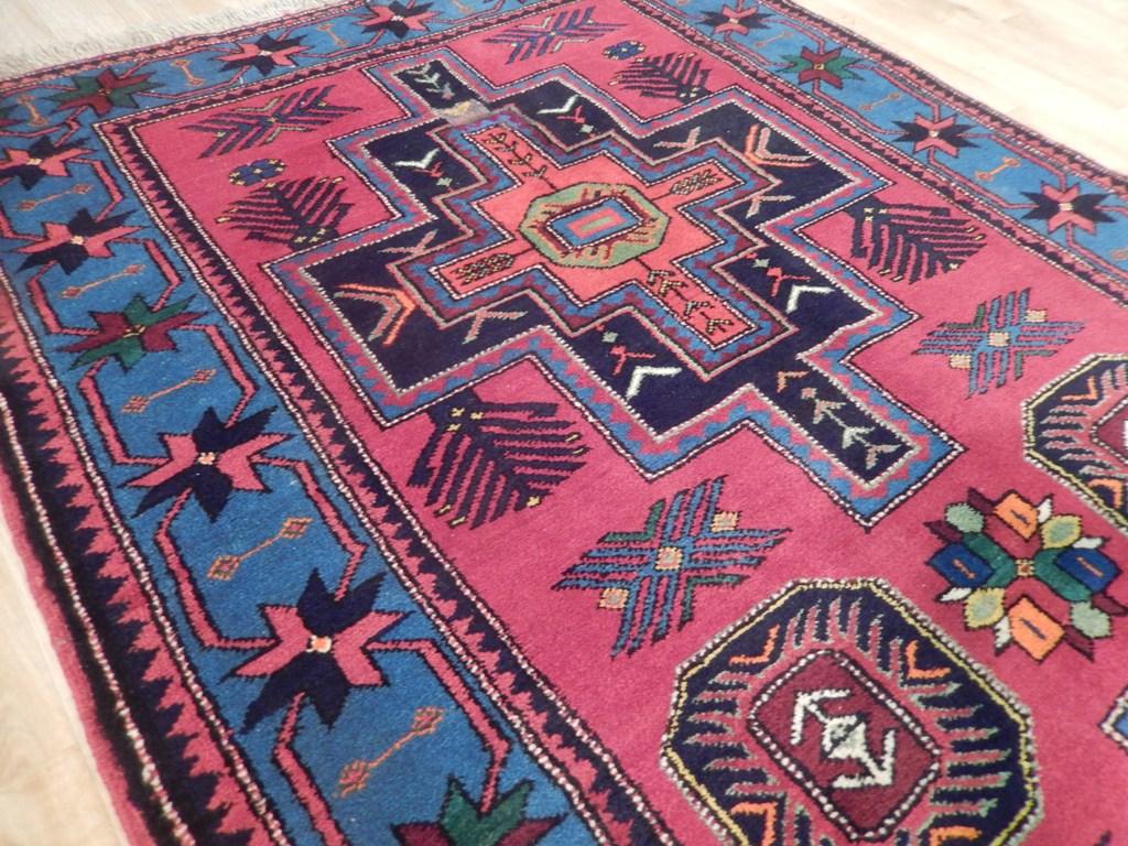 Handmade Rug Geometric 4x7 Antique Caucasian Kazak Rug