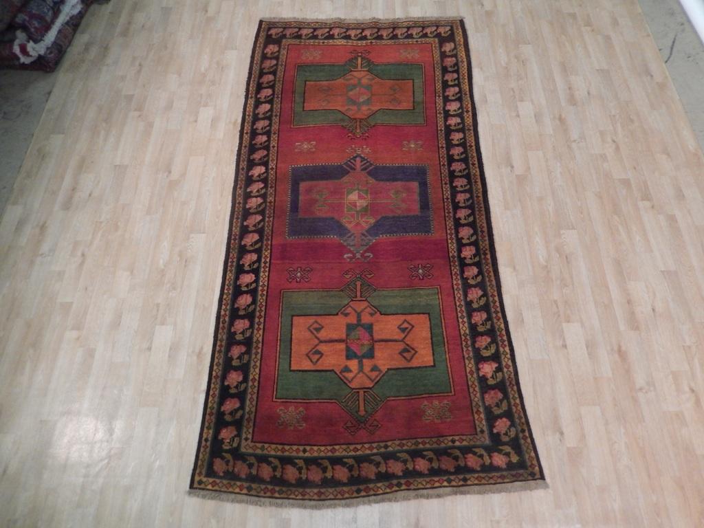 Old Hand Woven Rug Vintage Caucasian Kazak 4x9 Antique