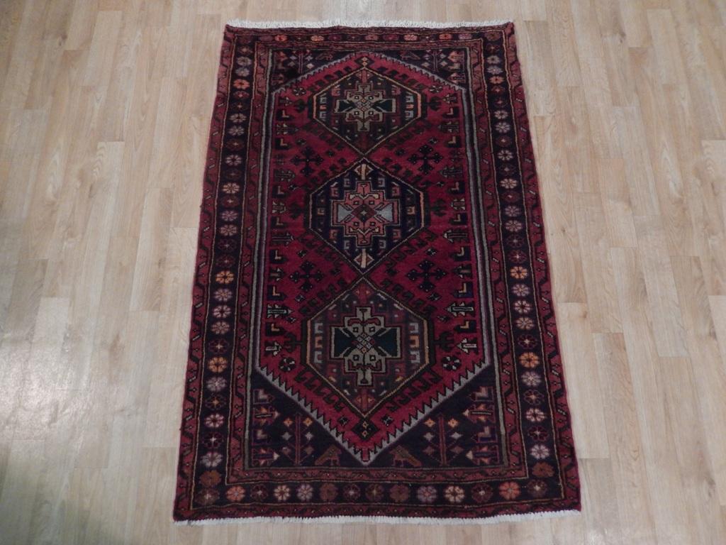 Pre Owned 3x5 Vintage Persian Hamadan Rug Handmade Estate