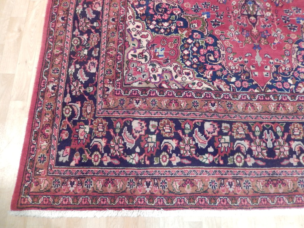 8 X 11 Semi Antique Persian Mashad Rug Hand Woven Wool