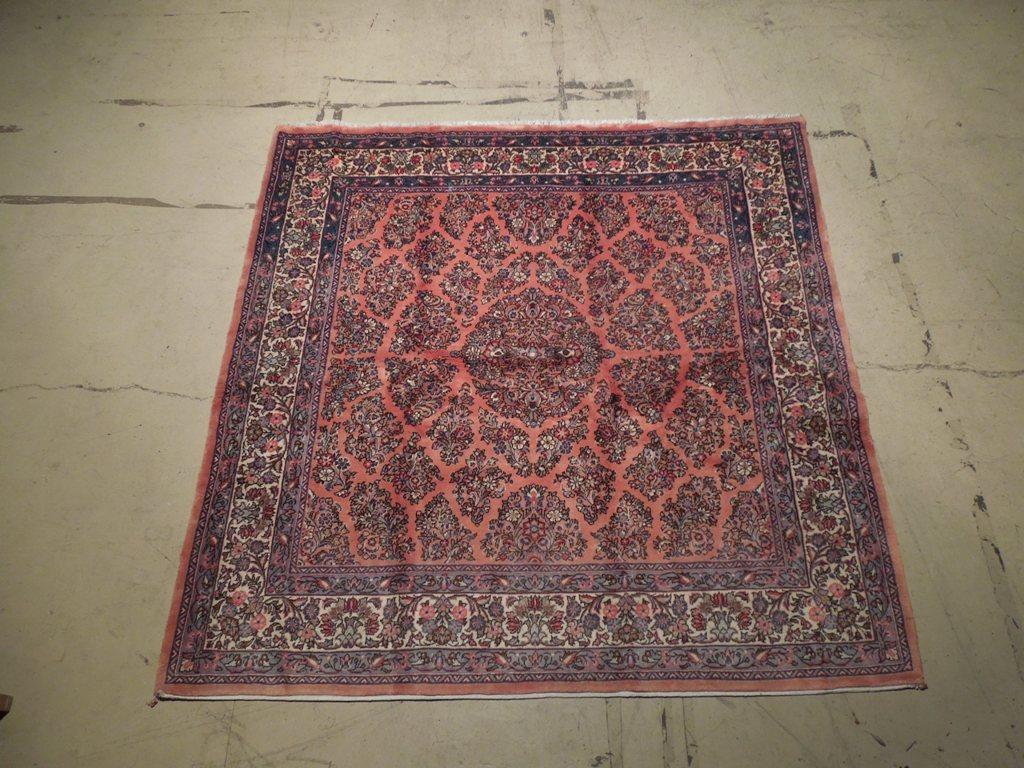 7' x 7' Hand Knotted  Persian Sarouk Rug