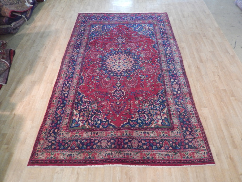 Persian Hand Woven Rug 6 X 10 Semi Antique Red Blue
