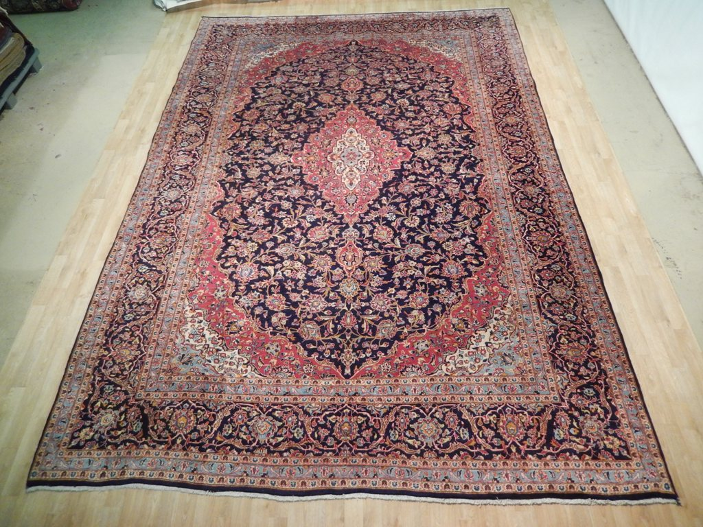 Kashan rug rugs for sale online handmade 10 39 x 15 39 persian for Custom made area rugs