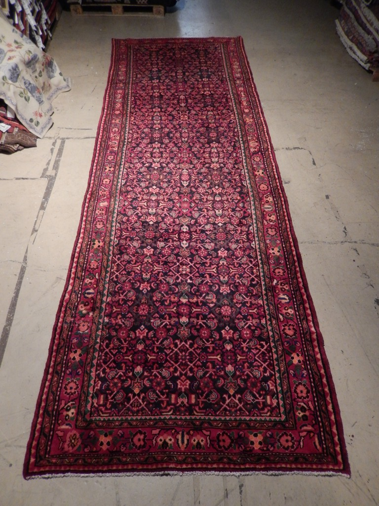 Black Red Semi Antique Persian Herati Runner Rugs Nyc Hand