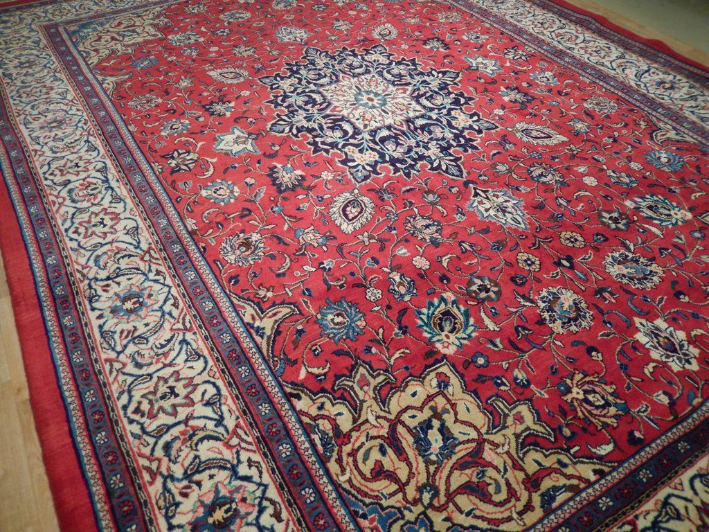 Red Ivory Tabriz Rug Oriental Design Handmade 10x14 Ft
