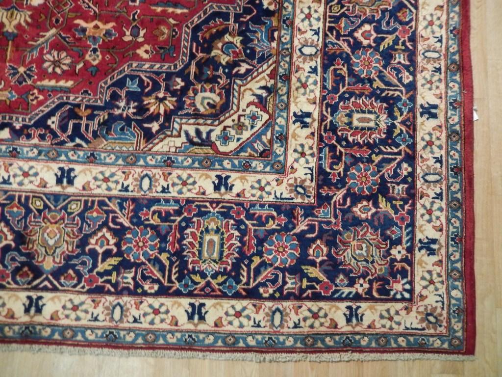 Organic Wool Hand Woven Rug 10x14 Semi Antique Persian