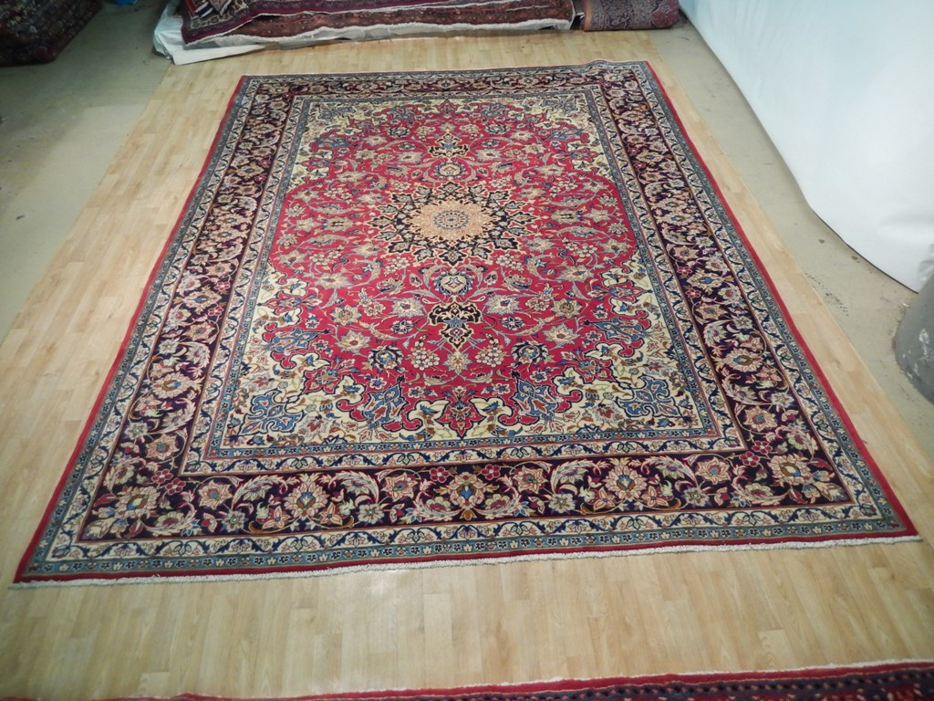 Image Is Loading Red Blue Handmade Rug Charming Isfahan Quality 10