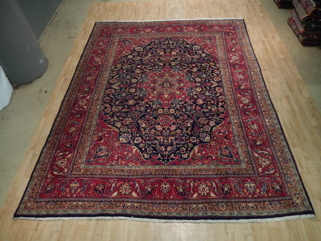 Midnight Dark Blue Red Soft Hand Woven Rug 10 X 12