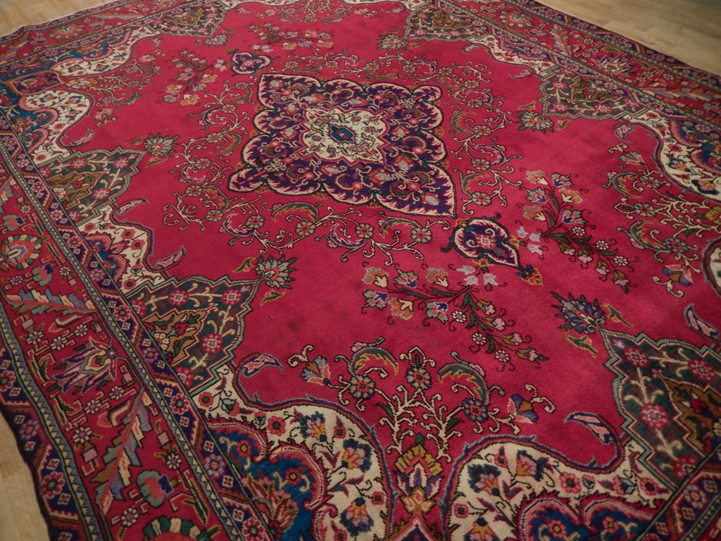 Red Oriental 9 X 13 Area Rug Hand Knotted Kerman Area Rug