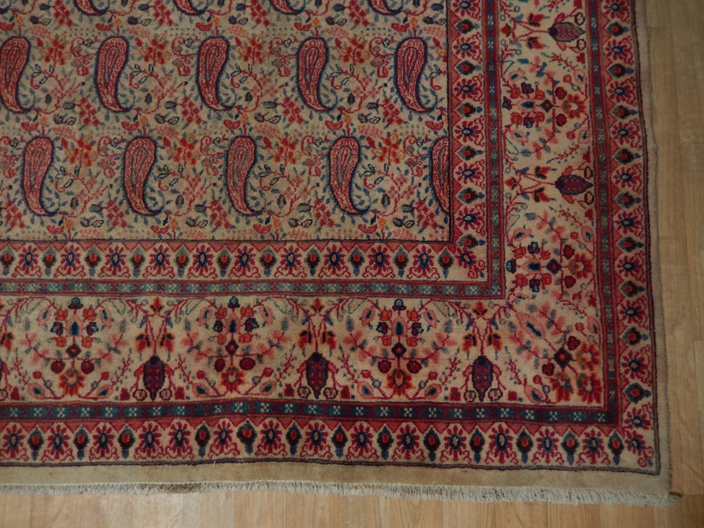 Paisley Fine Weave Qum Rug Genuine Hand Knotted Rug 10 X