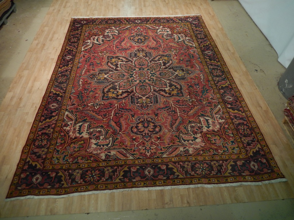 rust red 10x12 area rug hand knotted persian heriz fantastic lotus flower ebay. Black Bedroom Furniture Sets. Home Design Ideas