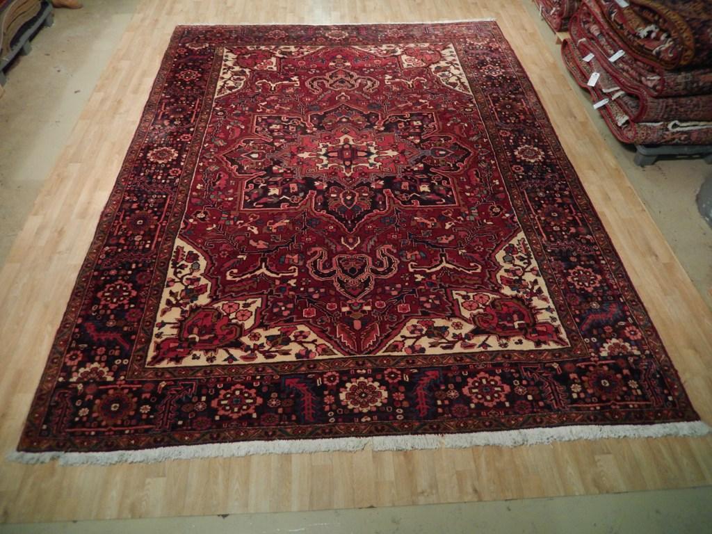 Burgundy Handmade Area Rug 10x13 Persian Heriz Rug Natural