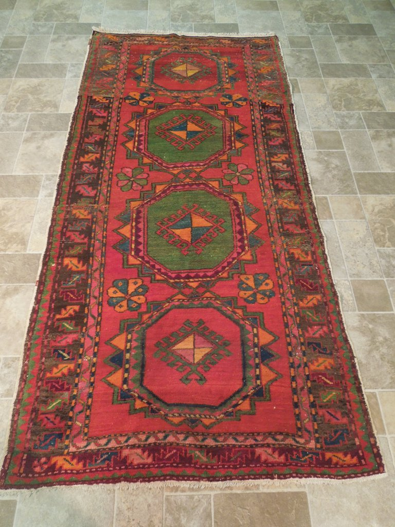 Red 4 X 8 Carpet Kazak Runner Oriental Old Fashioned