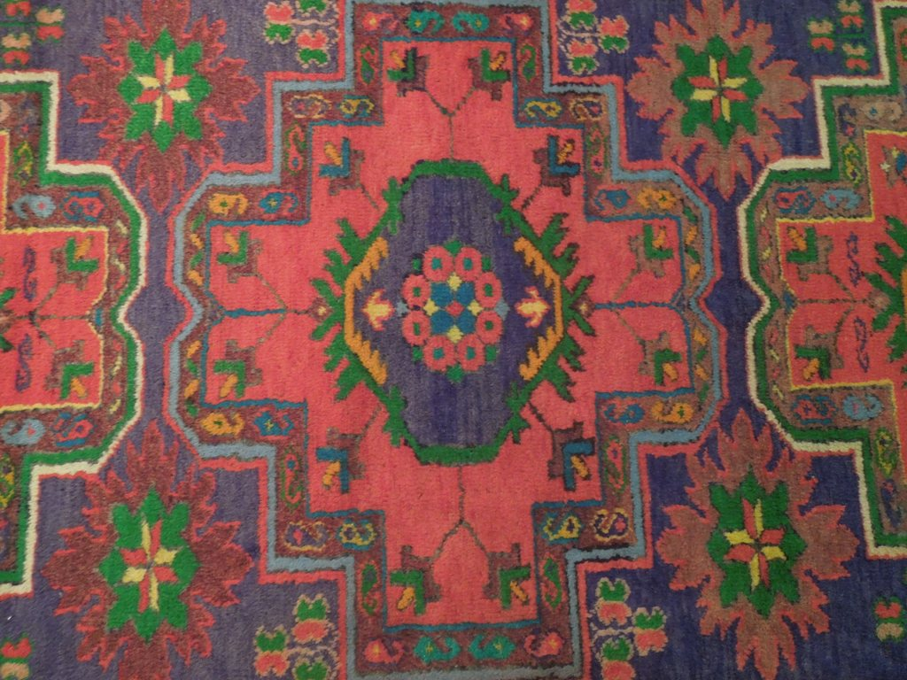 Purple Blue 4' X 8' Area Rugs Original Kazak Runner